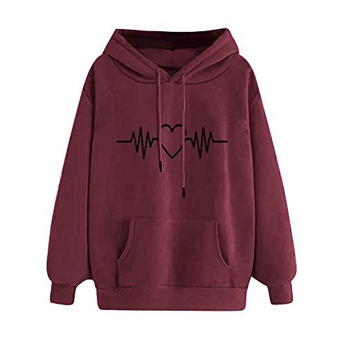 Discount Boutique Sudadera para Mujer Jersey Grande de Felpa Suéter de otoño Invierno Tops Heartbeat Print Sudadera con Capucha Casual para Mujer