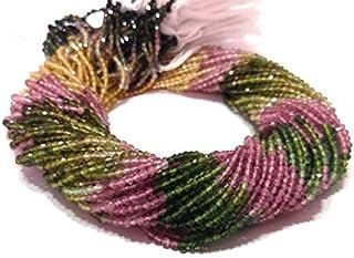 Paquete Natural de 5 filamentos 3-3.5 mm de Rondelle Tallado de turmalina Mutli | Cuentas Micro talladas para Hacer la joy...