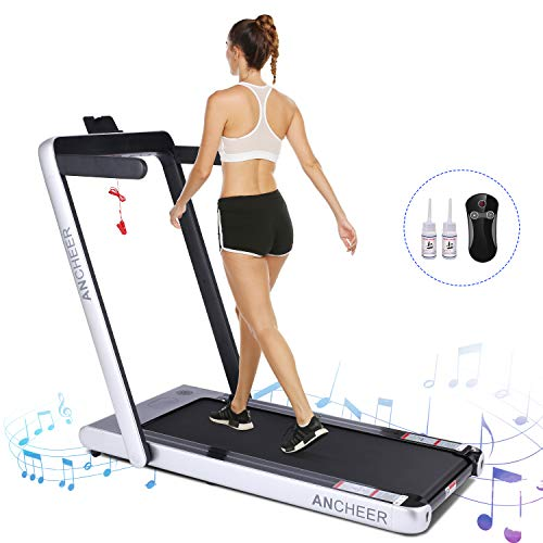 Zafuar 2 in1 Folding Treadmill,Under Desk Electric Exercise Treadmill,2.25HP Fitness Walking Running Machine with Remote Control&Digital Monitor&Bluetooth Speaker for Home Gym Office. (Silver)
