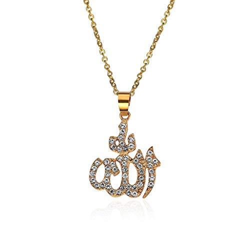 DENGHENG Collar con Colgante de Dios Islámico Musulmán Arabe para Mujer con Diamantes de imitación de Oro