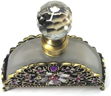 Antiqued Brass Pink/Purple Crystal Flower Frosted Glass Perfume Bottle