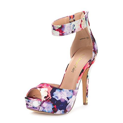 DREAM PAIRS Women's Swan-05 Floral High Heel Plaform Dress Pump Shoes - 7.5 M US