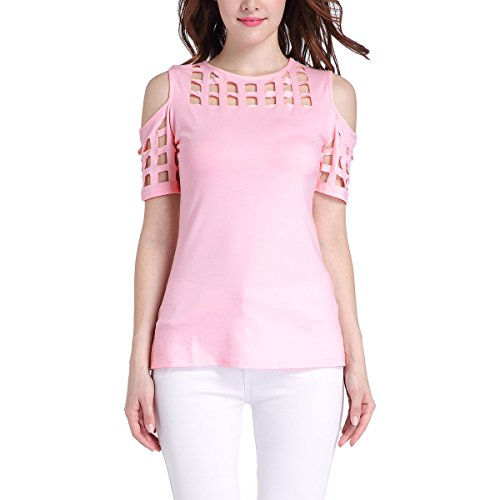 Fanmay Elegante camiseta de manga corta para mujer, sin tirantes, estilo informal Rosa. L