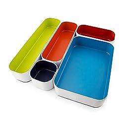 colorful storage trays