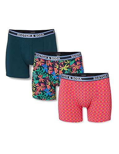 Scotch & Soda Herren Classic Boxer Short with Printed Waistband Boxershorts, Mehrfarbig (Combo A 0217), Medium (Herstellergröße: M)