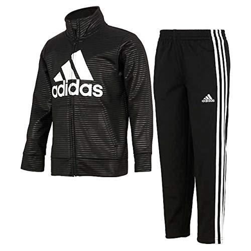 adidas Boys Kids' Track Suit Tricot 2 Piece Active Pants Set (Black, 4T)