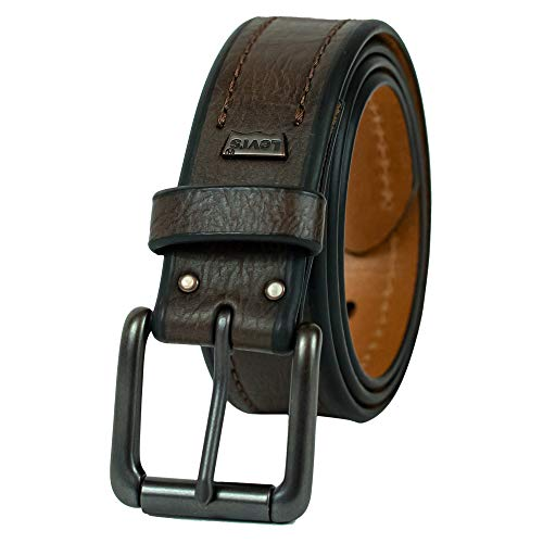 Levi's Men's 1 3/8-Inch Bridle Belt with Stitch Detailing,Brown,Small