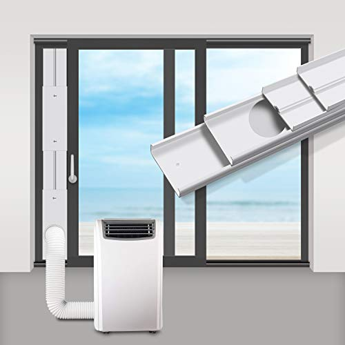 gulrear Portable Air Conditioner Sliding Door Vent Kit, Universal Balcony Sliding Door Seal Plate for Portable AC, Max Adjustable Length 220cm/87 Inch,Suit for 15cm/5.9 Inch Exhaust Hose