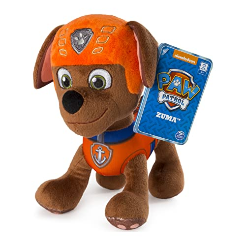 """Paw Patrol – 8"""" Zuma Plush Toy, Standing Plush with Stitched Detailing, for Ages 3 and up, Multicolor"""