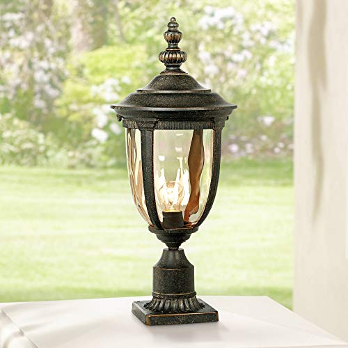 Bellagio European Outdoor Post Light Fixture with Pier Mount Bronze 25 inch Tall Glass for Exterior House Porch Patio Outside Deck Garage Yard Garden Driveway Home Lawn Walkway - John Timberland