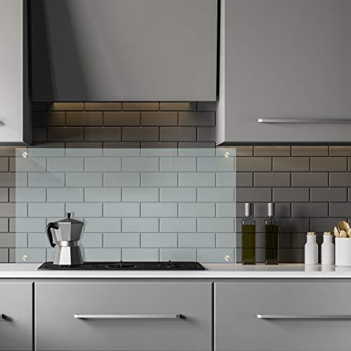Relaxdays Spritzschutz Küche, Sicherheitsglas, Küchenzeile Fliesenschutz, Herdblende 100x60 cm, Wandmontage, transparent