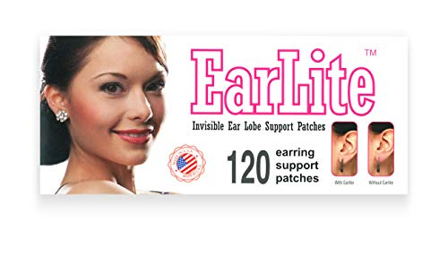 EarLite 120 Unsichtbare Ohrring Ohr-Lobe Wonder Support Patches wasserdichte Patches in ZipLock Pouch