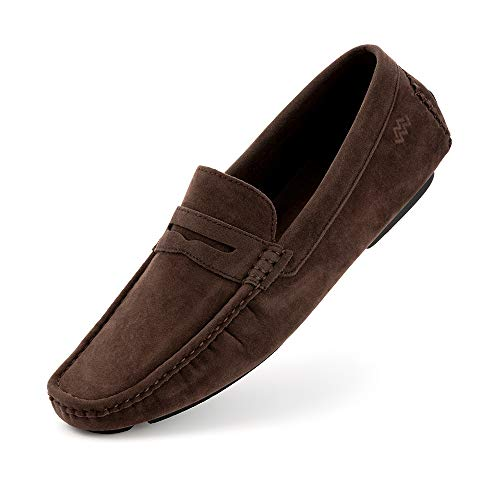 Mio Marino Mens Loafers and Slip On - Suede Casual Shoes for Men - Hand Stitched - Comfortable and Walking Friendly - Amaretto - 13