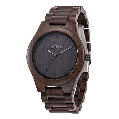 Reloj de Madera para Hombre Sentai Reloj de Pulsera de Cuarzo Vintage Hecho a Mano Reloj de Pulsera de Sándalo Negro Natural Reloj de Madera Elegante con Gran nitidez Índice de luz Negro