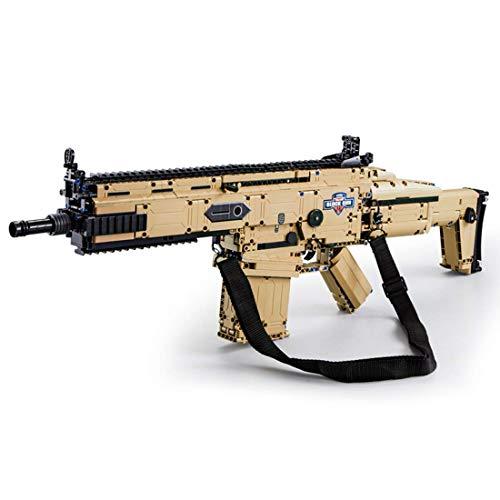 SDUK Technik Scar Modelo de Rifle de Asalto, Bloques de construcción, Kit de Armas de Rifle con función de Disparo, 1406 Piezas compatibles con Ladrillos Lego