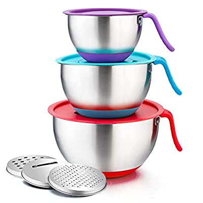 P&P CHEF Mixing Bowls with Lids Set of 3, Stainless Steel Mixing Bowl with Pour Spout & Long Handle & 3 Grater Attachments for Mixing and Prepping, Non-Slip Bottoms & Functional Lids, Size- 1.5/3/5 QT