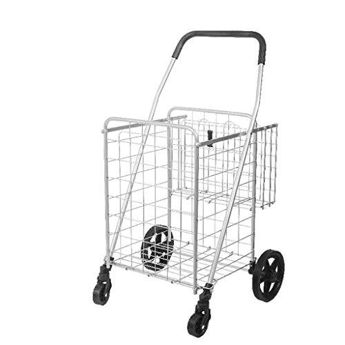 SYue Carretilla de Las Compras de la Gran Capacidad 90L, 4 cestas portátiles Plegables del Carro 2 del Empuje de la Rueda