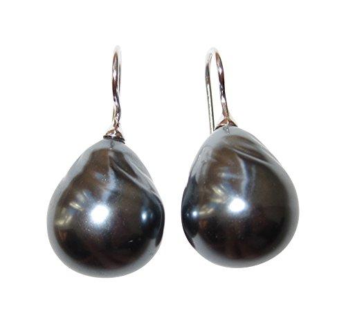 Große dunkel-graue Perlen-Ohrringe Ohr-Hänger Barock-Glasperle tropfen-förmig 925er Sterling-Silber hochwertig klassisch stilvoll Handarbeit Italien