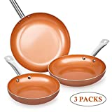SHINEURI Nonstick Ceramic Copper Pan Set - 8/9.5/11 inch, Frying Pan Set Fry Pan Set with Induction...