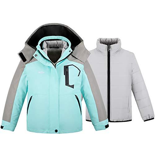 Wantdo Girl's 3 in 1 Waterproof Ski Jacket Interchange Warm Fleece Coat Blue 6/7