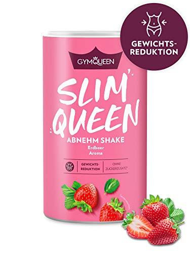 GymQueen Slim Queen Abnehm Shake 420g   Leckerer Diät-Shake zum einfachen Abnehmen   Mahlzeitersatz mit wichtigen Vitaminen und Nährstoffen   nur 250 kcal pro Portion & ohne Zucker-Zusatz   Erdbeer