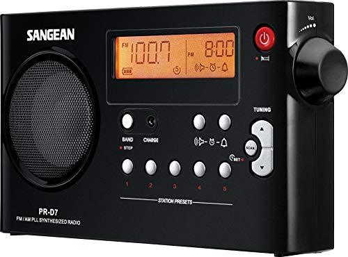 Sangean PR-D7 - Radio portátil (Pantalla LCD de 3.3' , 7.2 voltios, Inalámbrico y alámbrico), Negro