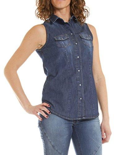 Carrera Jeans - Camisa Jeans 253 para Mujer, Estilo Western, Ajuste Regular, sin Mangas