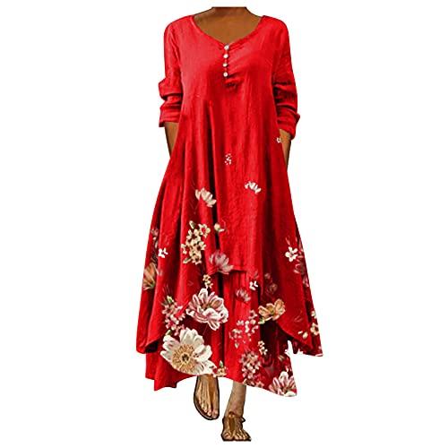 yudjzgt Vestido de verano para mujer, largo, largo, cuello en V, elegante, con estampado de flores, irregular, suelto, suelto, para tiempo libre rojo L