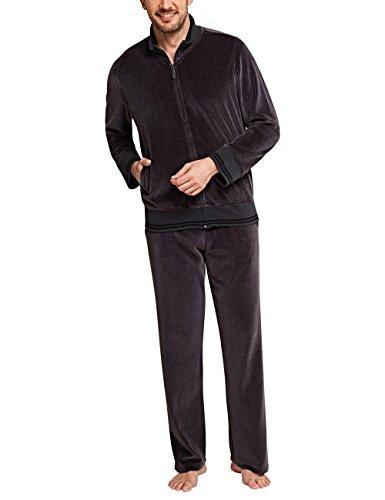 Schiesser Herren Selected Premium Freizeitanzug Zweiteiliger Schlafanzug, Grau (dunkelgrau 205), Small (Herstellergröße: 048)