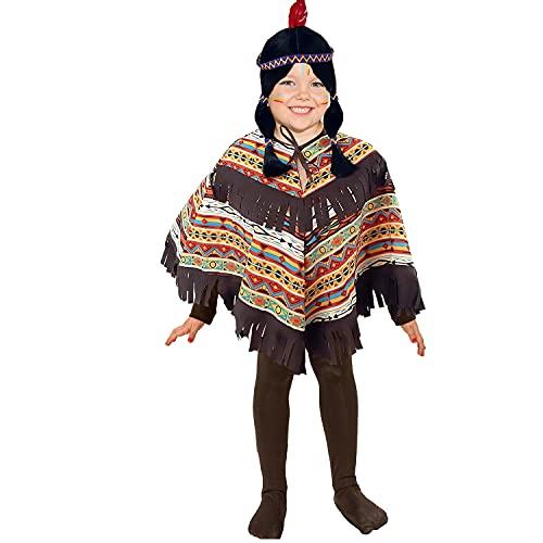 Krause & Sohn Disfraz infantil de indio americano, talla 104-116, poncho estampado