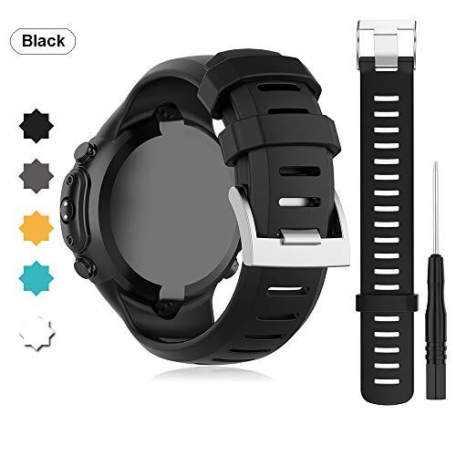Buwico Armband für SUUNTO D6i NOVO/ D6i Zulu/ D6 Dive Watch, Silikon Handgelenk Uhrenarmbänder Sport Ersatz Uhrband Wechselarmbänder für SUUNTO D6i NOVO/ D6i Zulu/ D6 Dive Smartwatch (Schwarz)