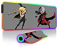 ゲーミングマウスパッド アニメかわいい女の子ラージRGBマウスマットゲーミングラップトップロックエッジガンキーボードデスクマットLEDバックライト付き31.5x11.8インチ