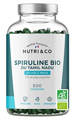 Spiruline Bio AB | 500 Comprimés de 500 mg Purs sans Excipient | 17% de Phycocyanine | Poudre Séchée et Compressée à Froid | Analysée et Conditionnée en France par Nutri&Co ®