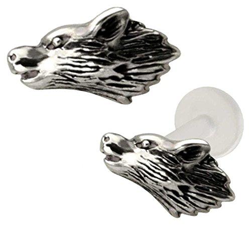 wolf head lip rings - 1