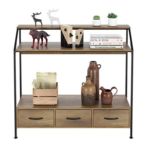HOMECHO Konsolentisch Beistelltisch mit 3 Schubladen und Ablagefläche Flurtisch für Zuhause und Büro, Holztisch für Flur, Wohnzimmer, Schlafzimmer, Diele, Vintage Hellbraun