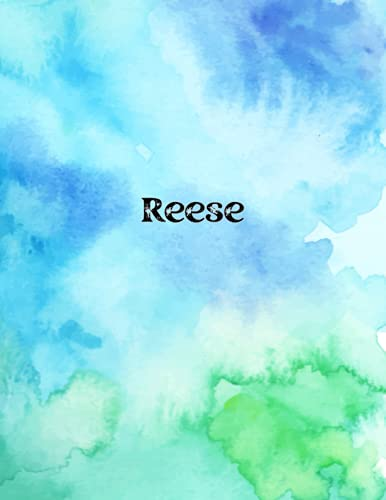 Reese: Cover Style Water Color - Personalized Name Notebook   Wide Ruled Paper Notebook Journal  Birthday Gift Notebook   For Teens Kids Students Girls  For Home School College   8.5x11 inch 160 pages