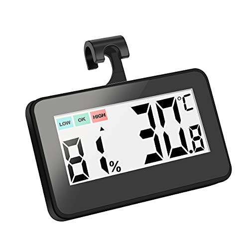 DIQC Thermometer Kühlschrank, Kühlschrank Thermometer Mini Mit Gut Lesbarem LCD-Anzeige, Hygrometer Perfekt für Lnnen, Außen, Restaurants, Bars, Café (Schwarz)