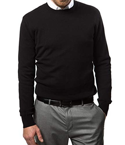 Marino Cotton Sweaters for Men - Lightweight Crewneck Men's Pullover (Black, X-Larg)