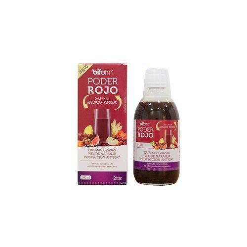 Dietisa Biform Poder Rojo- Fórmula concentrada de extracto de frutas, verduras y plantas con doble acción: adelgazar y reforzar, 500 ml.