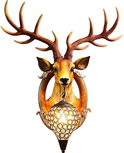 Lámparas de pared industriales, Luz de pared interior interior estilo europeo retro creativo color marrón ciervos hechos a mano lámpara de pared de resina natural con negro hierro de hierro cristalina