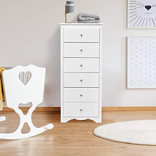 Giantex 6 Drawer Chest Wooden Dresser Clothes Organizer Bedroom, Hallway, Entryway Furniture Tall Storage Cabinet (White)