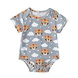 Flysnow Baby-Strampler, Cartoon-Schlafanzug, Tiger-Druck, Freizeitkleidung, Einteiler, kurzärmelig Gr. S, h