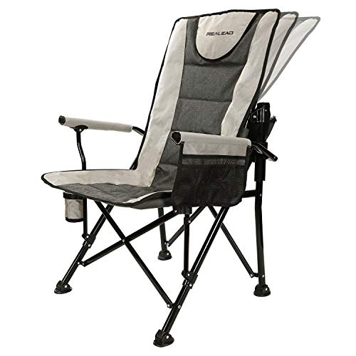 Realead Adjustable Oversized Folding Chair High Back Camp Chair Beach Chair Heavy Duty Portable Camping and Lounge Travel Outdoor Seat with Cup Holder,Heavy Duty Supports 400 lbs