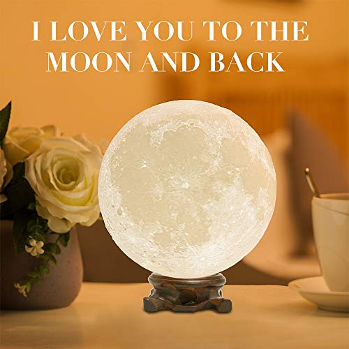 Methun Moon Lamp Moon Light Night Light for Kids Gift for Women USB Charging and Touch Control Brightness 3D Printed Warm and Cool White Lunar Lamp…