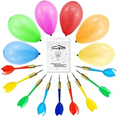 "🎈 500 pcs 6"" Carnival balloons with 10 pcs metal tipped darts, the balloons popped perfectly. 🎈 Party balloons are a little more ""touchy"" , they popped easily and loudly, perfect game for family reunion, the kids will love it. 🎈 Balloon pop games is ..."