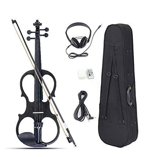 H/A 4/4 violín eléctrico eucalipto tamaño completo, con cable auricular y caja...