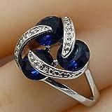 LMKAZQ 925 Sterling Silver Jewelry Female Ring Round Green Blue Semi-Precious Stone Daily Ring, 6,Blue,Silver Plated