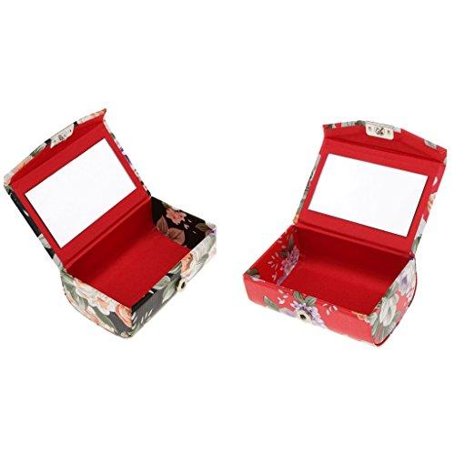 Sharplace 2 Pcs Etui de Rouge à Lèvres avec Mirror Vintage Broderie Imprimé Floral Lipstick Case Portable pour Femme