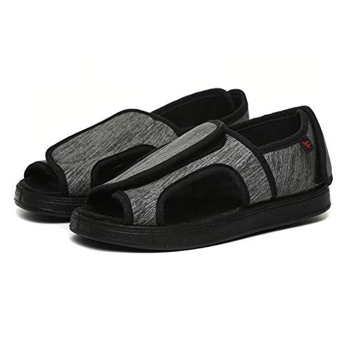 BBHH Zapatos diabéticos de Punta Abierta para Mujer, Zapatos de Velcro Antideslizantes con Cierre Ajustable para diabéticos Fascitis Plantar juanetes Artritis pies hinchados-Grey_36