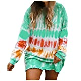 Alangbudu Tie Dye Printed Long Sleeve Dress Sweatshirt Round Neck Casual Loose Pullover Tops Shirts Oversized Dresses Green